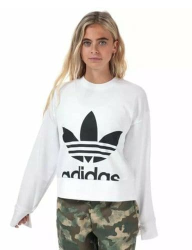Women's adidas Originals Sweater Crew Neck Regular Fit Sweatshirt White EC5777